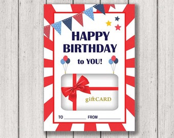 Birthday Gift Card Holder, Printable Gift Card Holder, Happy Birthday, Gift Card holder, Instant Download, Birthday Gift Card, Birthday Card
