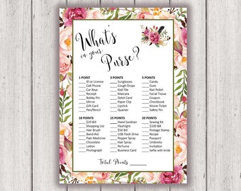 photo about Free Printable Bridal Shower Games What's in Your Purse titled BRIDAL SHOWER Activity Printable Bridal Shower Recreation Boho Stylish Etsy