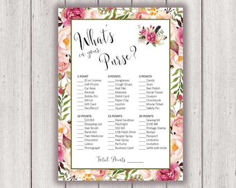 photo about What's in Your Purse Bridal Shower Game Free Printable named BRIDAL SHOWER Video game Printable Bridal Shower Activity Boho Stylish Etsy
