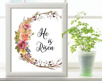 Easter Printable Wall Art He Is Risen Printable Quote Etsy