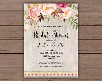 Floral Bridal Shower Invitation, Bridal Shower Invite, Bridal Shower Printable, Rustic Bridal, Boho Bridal, Southwestern Wedding, B200