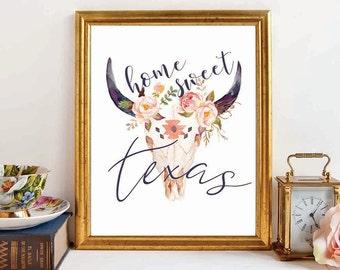 Bull Skull, Dorm Room Decor, Skull Wall Art, Tribal Skull Print, Skull Decor, Skull Art, Tribal Print, Tribal Printable, Texas gift