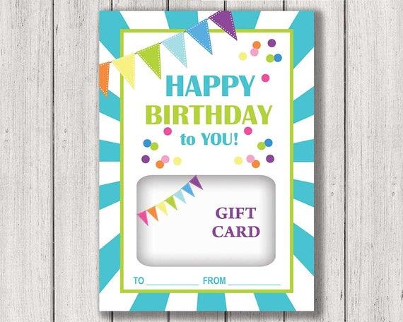 Birthday Gift Card Holder Printable Gift Card Holder Happy Etsy