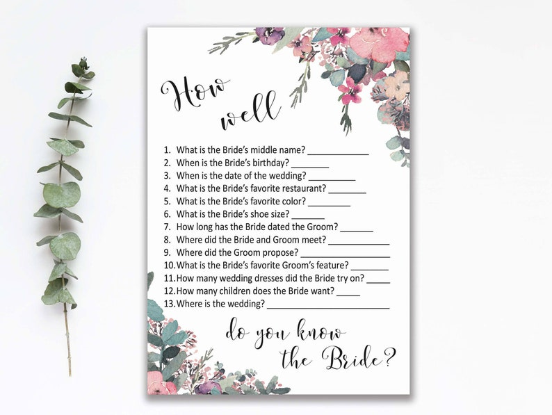 picture about How Well Do You Know the Bride Printable named BRIDAL SHOWER Sport, How Nicely Do On your own Notice the Bride, Printable Bridal Shower Recreation, Boho Stylish Bridal Celebration Sport, Printable Recreation Card, B110