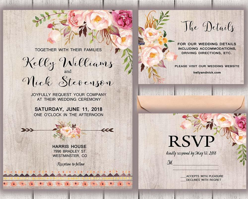 Boho Chic Wedding Invitations: Floral Wedding Invitation Boho Chic Rustic Wedding