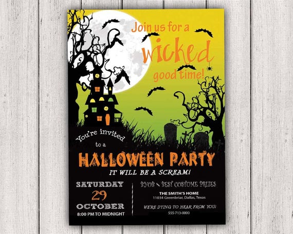 halloween party invitations a wicked good time halloween etsy