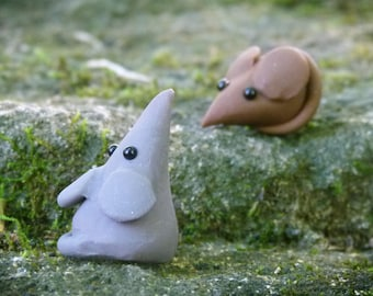 Polymer Clay Mouse, Miniature Rat, Grey or Brown Mouse, Miniature Fairy Garden Accessory