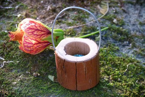 "Miniature Dollhouse FAIRY GARDEN Accessories ~ Rustic 1¼/"" Wood Wooden Bucket NEW"