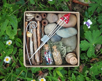 Rustic Fairy Garden Kit, Gift Box of Fairy Accessories, Natural Fairy Materials