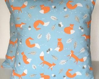 "2 x 16"" Handmade Mr Fox Powder blue orange white cushion covers"