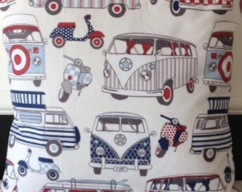 """2 x 16"""" Camper van & scooter red blue cream cushion covers"""