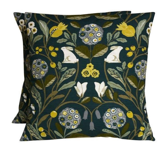 2 x Studio G Forester Ochre Hares Floral Cushion Covers