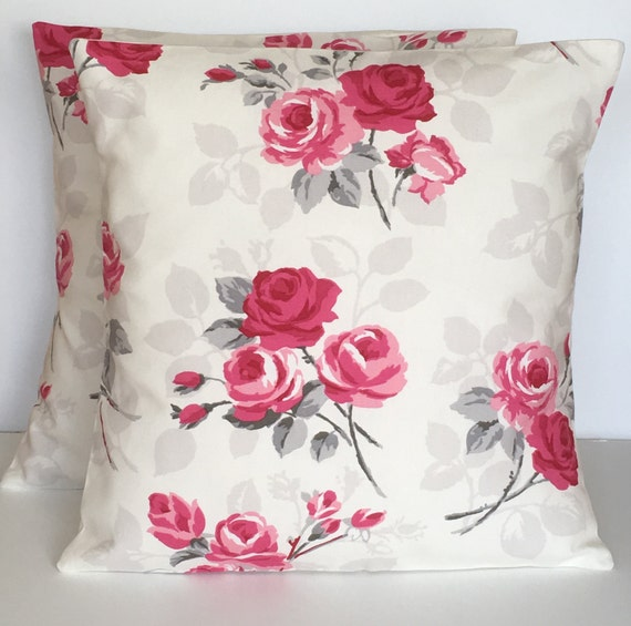"""4 Clarke /& Clarke Red Spot Nancy Floral  Shabby Chic Cushion Covers 16/"""""""