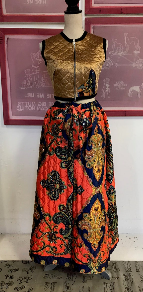 1960s/1970s Vintage Quilted Maxi Skirt/ Paisley Pr