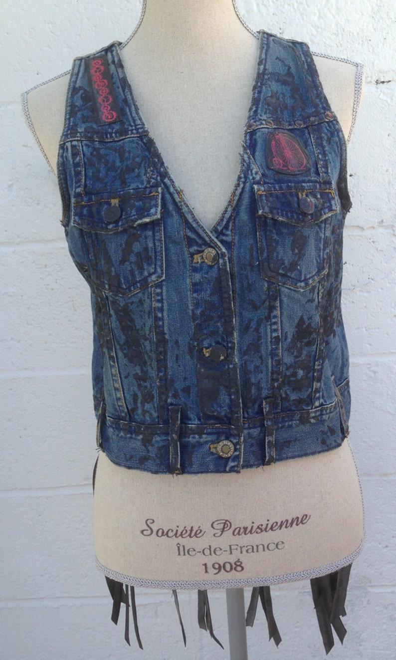 Industrial Punk Denim Vest  Vintage Hand Painted Vest /& Bike Tube Trim Original One of a Kind Size Medium