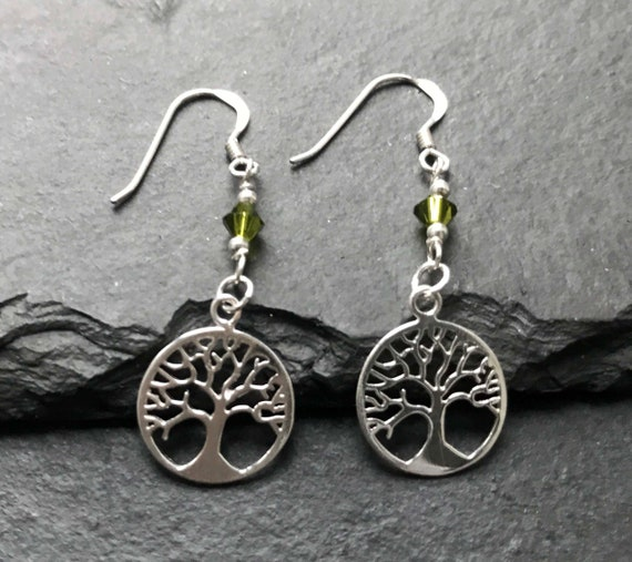 August Birthstone Gift Silver Peridot Tree of Life Earrings for Women 1st Anniversary
