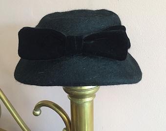 Sale! Vintage Dark Charcoal Wool Hat by Talbert