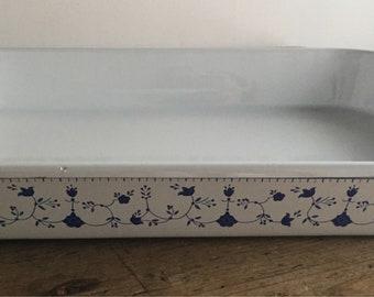Vintage White Porcelain Enamelware Pan  Blue Flower Border