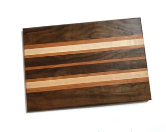 Large Handmade Wooden Cutting Board - Cherry Wood, Maple, and Walnut