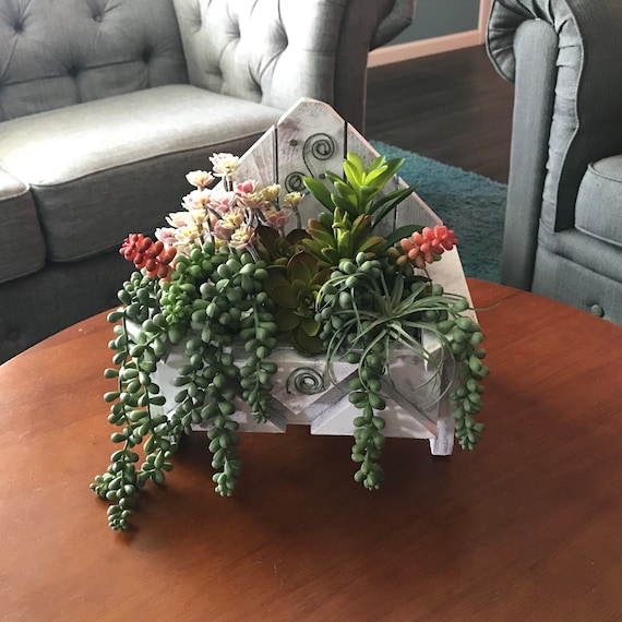 Sensational Artificial Succulent Arrangements Succulent Table Centerpiece With Faux Succulents Handmade Wooden Chair Planter Chair Fake Greenery Caraccident5 Cool Chair Designs And Ideas Caraccident5Info