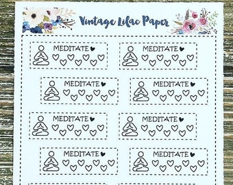 Meditate Tracker Planner Stickers: Perfect for any size planner!