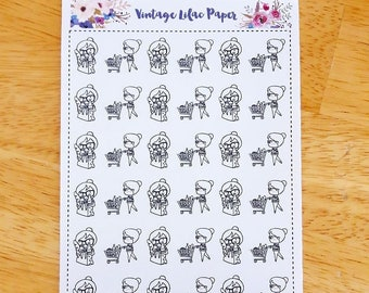 Daisy the Doodle Doll Grocery Planner Stickers: Perfect for any size planner!