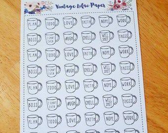 Rae Dunn Inspired Doodle Mug Planner Stickers: Perfect for any size planner!