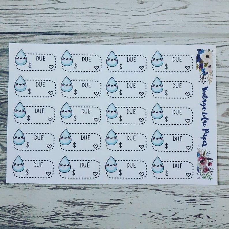 20 Kawaii Water Bill Due Planner Stickers: Perfect for any image 0