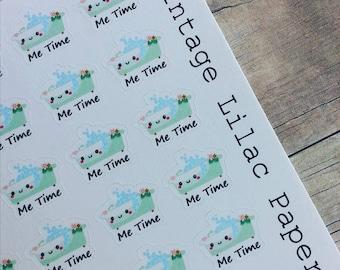 60 Kawaii Bubble Bath Me Time Planner Stickers: Perfect for Erin Condren, Happy Planner, and Personal Planners!