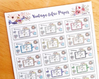 Multi Color Planner Desk Scene Planner Stickers:  Perfect for any size planner!