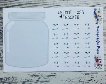 Kawaii Weight Loss Tracker Planner Stickers Set: Perfect for note pages!