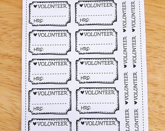 Doodle Volunteer Tracker Planner Stickers: Perfect for any size planner!