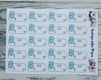20 Kawaii Phone Bill Due Planner Stickers: Perfect for any size planner!