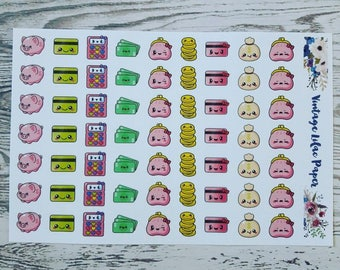 63 Kawaii Finance Planner Stickers: Perfect for any size planner!