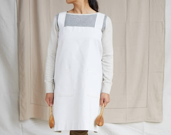 Cotton canvas Japanese style, cross back apron. No ties, loose fitting design.