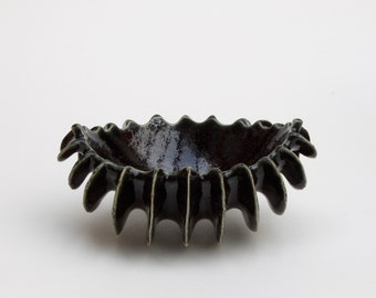 Black Finned Elliptical Vessel Fine Art Ceramics