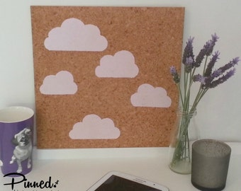 Cloud Design Pinboard, Hand Painted Cork Board, Memo Board, Bulletin Board,  Girls