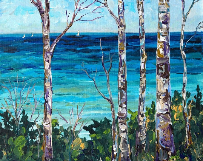 Featured listing image: Michigan Birch, Tunnel of Trees, M119, Birch Trees, Michigan Art, Lake Life, Beach Paintings, Sailboats, Lake Michigan, Summer Vacation