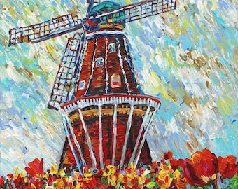 Tulip Time, Windmill Island, Holland Michigan, Tulips, Spring Flowers, Dutch Heritage, Michigan Art, Betsy ONeill