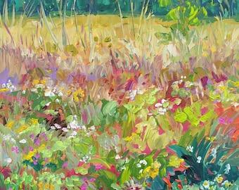 "Original Plein Air Painting: ""Prairie Morning"" Caledonia, Michigan, Field, Flower painting, Meadow"