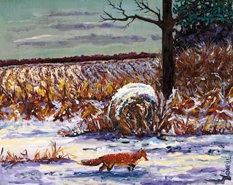 Michigan Woodland, Winter, Fox, Farm, Landscape, Moon, Nature, Woods, Solstice, Fox Painting, Giclee, Betsy ONeill, Michigan Art