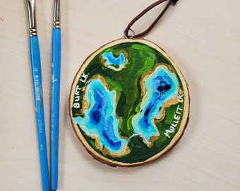 Burt and Mullet Lakes, Mini Painting, Topographical Map, Recycled woodblock slice, Hand Painted original.