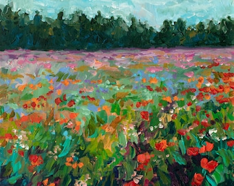 Morning Shadows, Poppy Field, reproduction print, Fennville, landscape, poppy painting, cottage decor, Michigan art, Betsy ONeill