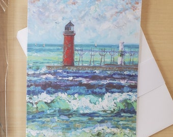Greeting Cards, Pack of 8 blank cards, envelopes, Michigan Lighthouses, South Haven, thinking of you, happy birthday