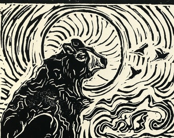 Mother Bear, Sleeping Bear Inspired Linocut, Giclee Fine Art Print