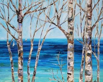 "Original Painting: ""Tunnel of Trees"" Birch Trees, Michigan, Grand Traverse, Sailboats, Lake Michigan"