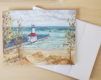 Greeting Cards, Pack of 8 blank cards, envelopes, Michigan Lighthouses, Saint Joseph, thinking of you, happy birthday