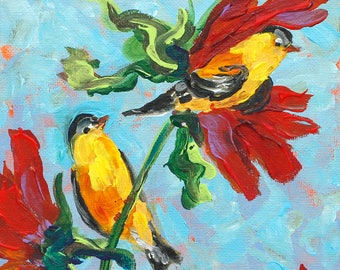 Two Finches, Sunflowers of Summertime, Red, Yellow, Turquoise