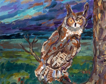Wise Owl, Night Owl, Night Life, Bird Painting