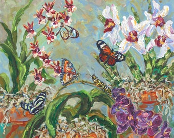 Transient Glory, Meijer Gardens, Orchid painting, Butterfly Painting, Botanical Garden, Greenhouse, Flower Still Life, Garden Art